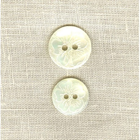 Engraved Mother of Pearl Button Clematis