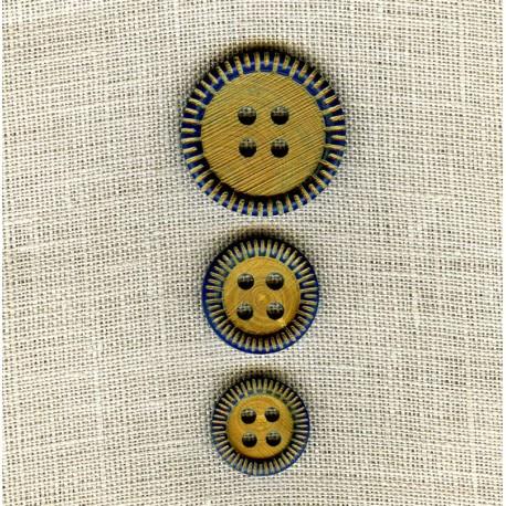 Engraved Indigo Wood Button