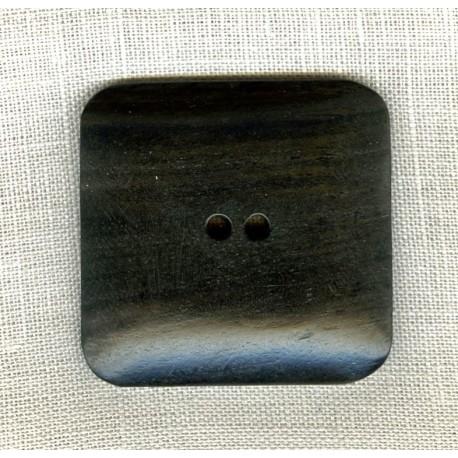 Wood Button Carré Black