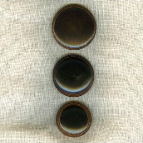Bouton en bois bicolore, rond