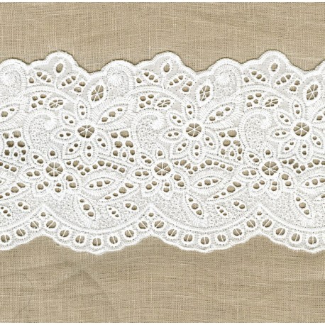 Ruban Broderie Anglaise Mantille, col. Blanc