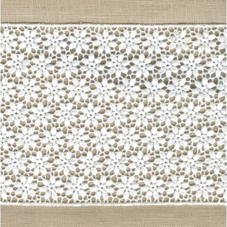 Guipure Ribbon Flower Bed, col. White