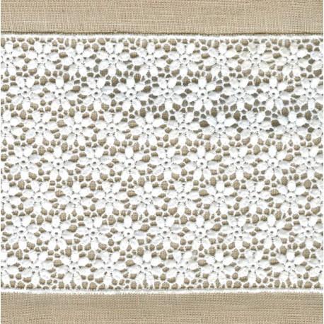Ruban Guipure Parterre de Fleurs, col. Blanc