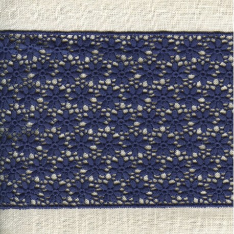 Guipure Ribbon Flower Bed, col. Blue Ink