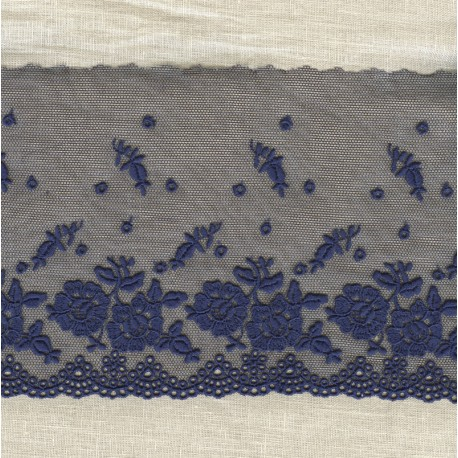 Big embroidered tulle lace Pétunias, col. Blue Ink