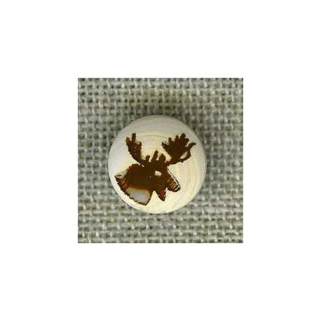 Caribou enamel boxwood button, col. Chalk/Chocolate
