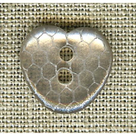 Golden clear iridescent heart children's button