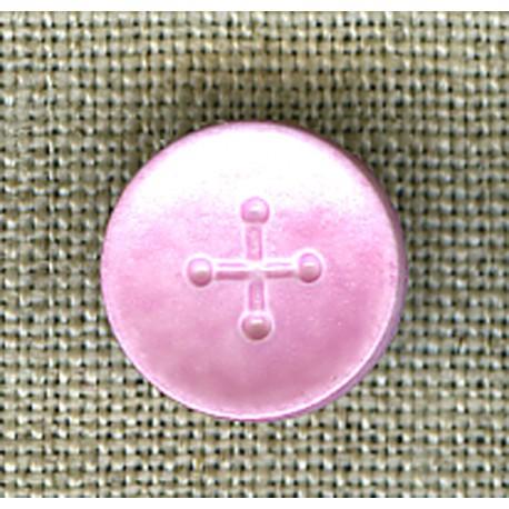 Pink iridescent cross children's button
