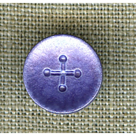 Indigo iridescent cross children's button