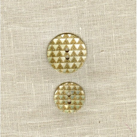 Engraved Mother of Pearl Button Pyramid, col. Gold Glitter