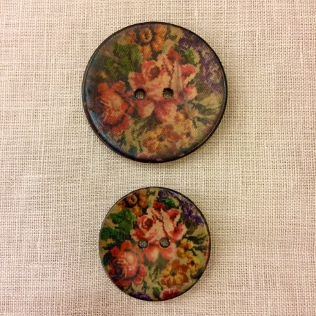 Mat coconut button, Cross stitch Roses