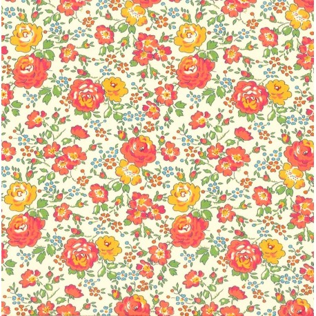 Tissu Liberty Betsy, col. Corail, Moutarde, Menthe