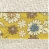 Ruban Biais replié à motifs Fleurs Moutarde/ Paon/ Figue