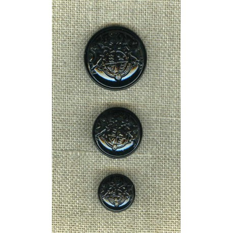 Metal button with shank, Coat of arms, Glossy black enamel