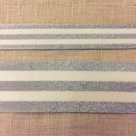 Striped grosgrain ribbon,col. White/ Silver