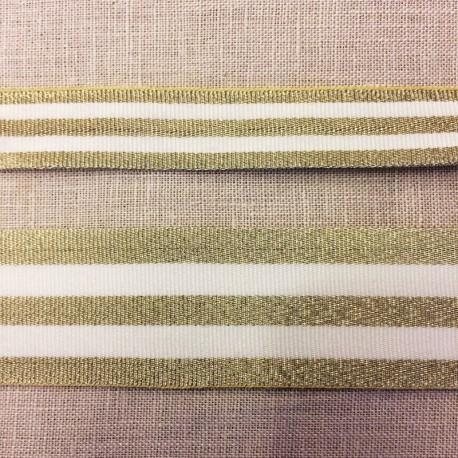 Striped grosgrain ribbon,col. White/ Gold