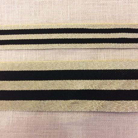 Striped grosgrain ribbon,col. Black/ Gold
