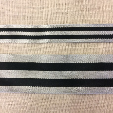 Striped grosgrain ribbon,col. Black/ Silver