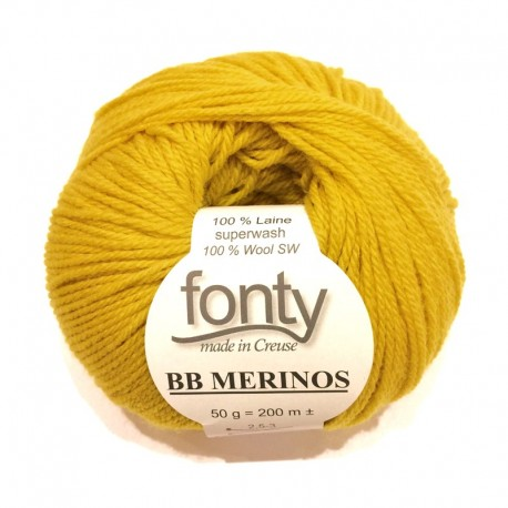 FONTY wool knitting yarn, qual.BB MERINOS, col. Zest 837