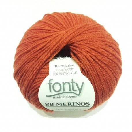 FONTY wool knitting yarn, qual.BB MERINOS, col. Tangerin 834