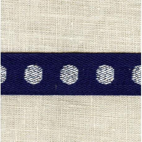 Navy Coton Serge Silver Dots