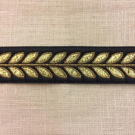 Jacquard Ribbon Laurel Black/ Gold