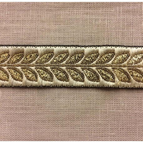 Ruban Jacquard Laurier Vanille/ Or