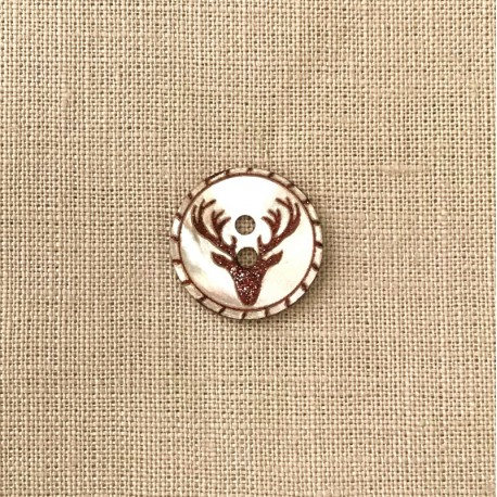 Engraved Mother of Pearl Button Deer, col. Natural/ glitter Brown