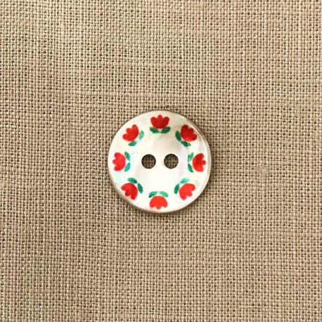 Printed Mother of Pearl Button, Ronde de Fleurs