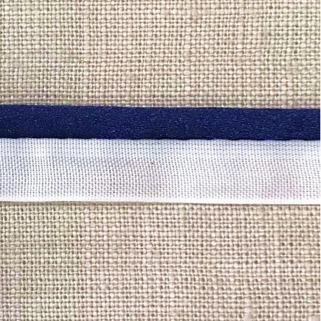 XL Rat tail white piping, col. Blue Ink