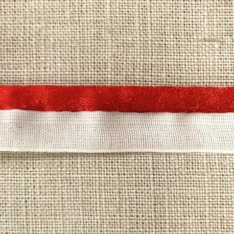 Ruban Passepoil XL blanc queue de souris, col. Vermillon