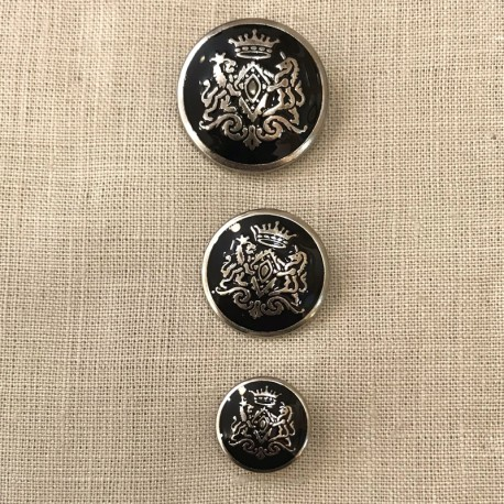 Metal Button Royal, col. Silver and Black Enamelled