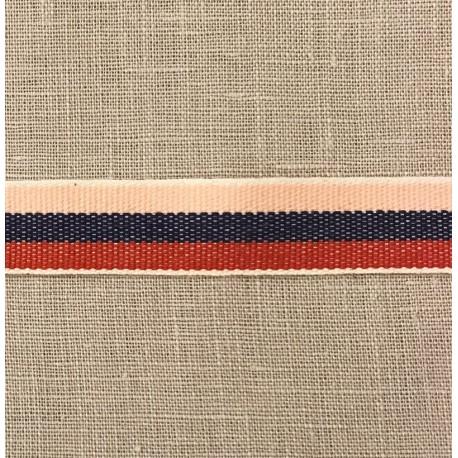 Cotton Taffeta Cotton Stripy, col. Nude/ Navy/ Poppy 275