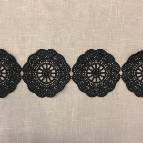 Ruban Guipure Grandes Rosaces, col. Nuit Noire