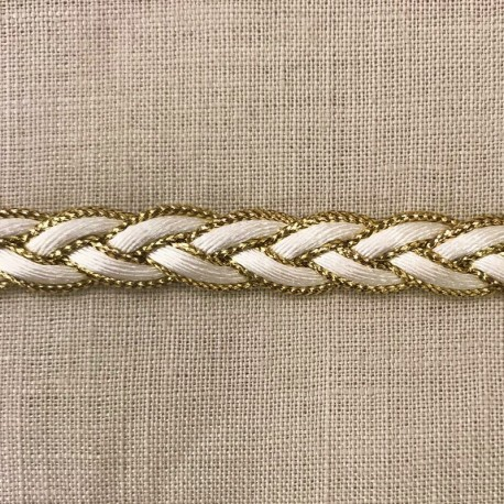 Braid Trimming, col White/ Gold