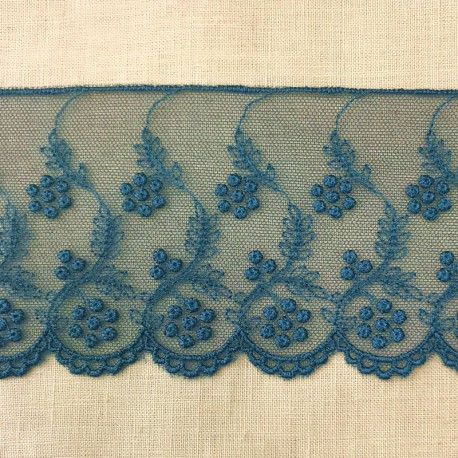 Embroidery Tulle Lace Fleurs perlées, Col. Peacock