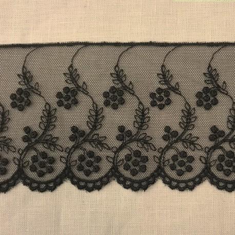 Embroidery Tulle Lace Fleurs perlées, Col. Black