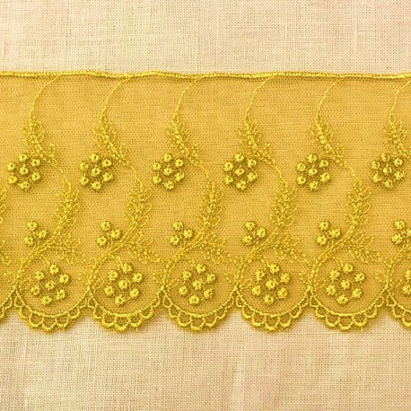 Embroidery Tulle Lace Fleurs perlées, Col. Mustard