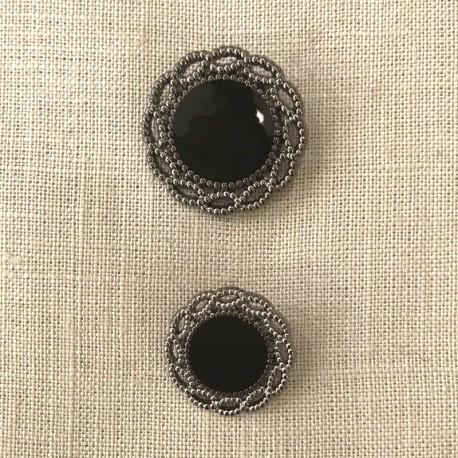 Metal Button Eugénie, col. Antik Silver/ Black