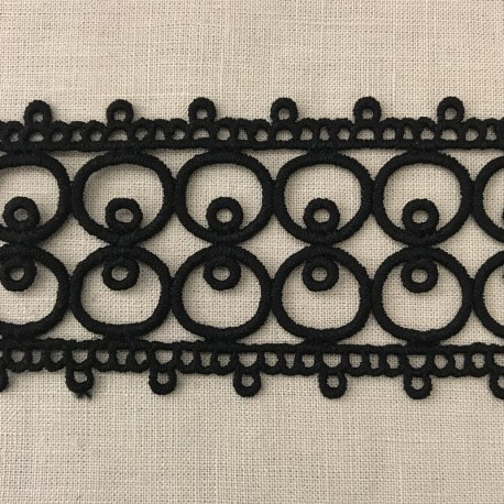 Guipure Entre Deux Ribbon Hoops, Col. Black