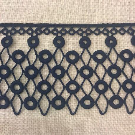 Ruban Guipure Perlettes Enlacées, Col. Encre Bleue