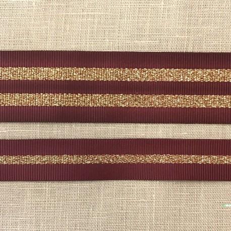 Striped grosgrain ribbon Girly,col. Medoc/ Gold