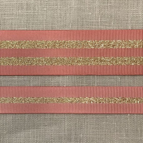 Striped grosgrain ribbon Girly,col. Peony/ Gold
