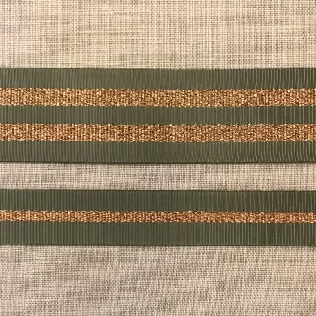 Striped grosgrain ribbon Girly,col. Laurel / Copper