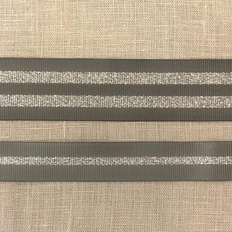 Striped grosgrain ribbon Girly, col. Pebble/ Silver