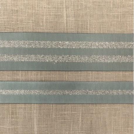 Striped grosgrain ribbon Girly, col. Fjord/ Silver