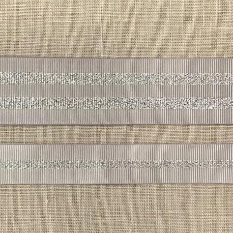 Striped grosgrain ribbon Girly, col. Pearl/ Silver