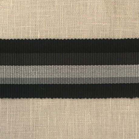 Striped Gros Grain Bayadère Ribbon Panama, col. Black, Meteorite, Smoke