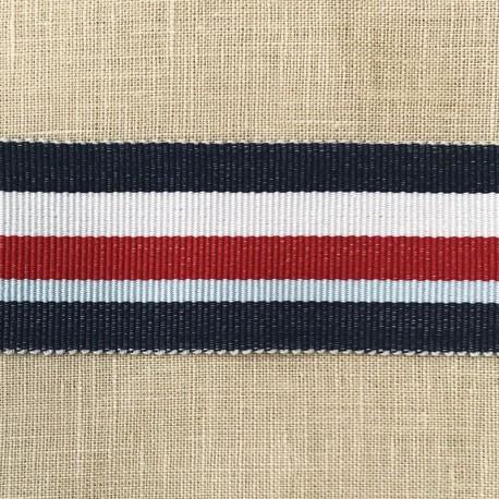Striped Gros Grain Bayadère Ribbon Panama, col. Navy, Pearls, Tomato