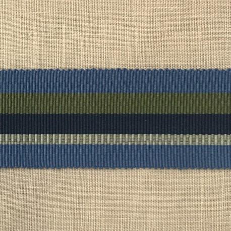 Striped Gros Grain Bayadère Ribbon Panama, col. Azur, Olive Tree, Navy, Grège